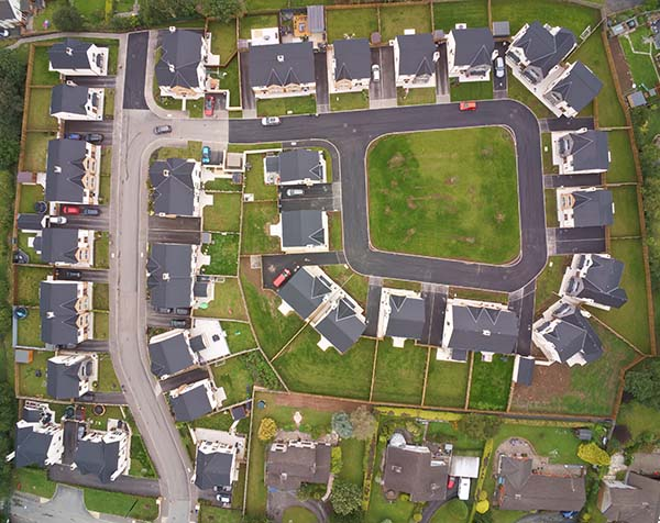 Birds eye view of housing estate