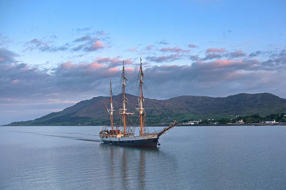 Tall Ship sailing up Carlingford Lough